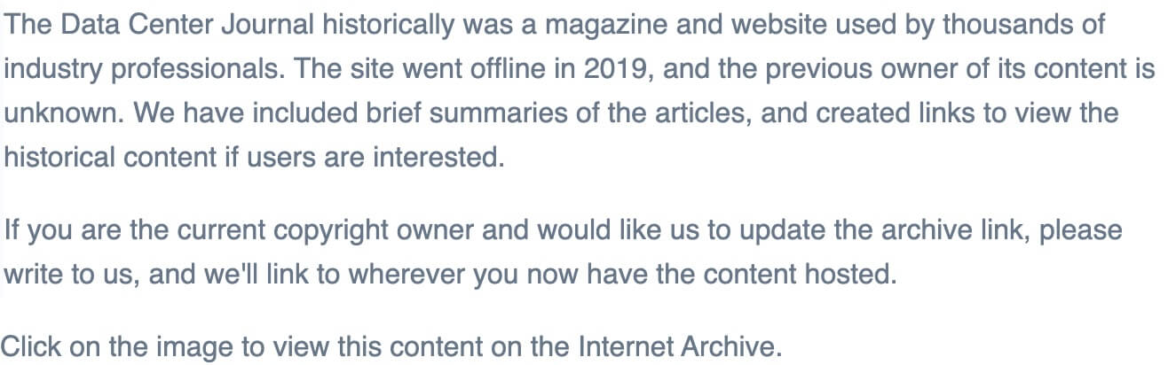 The Data Center Journal's archive statement on content whose ownership we have not been able to track down